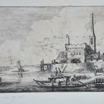 Print. J. v.d. Velde II, Cattle on a ferry by a fort in a river landscape.