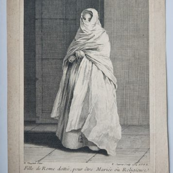 Print. E. Jeaurat after N. Vleughels, Standing veiled woman, 1734.