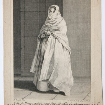 [Antique etching and engraving] E. Jeaurat after N. Vleughels, Standing veiled woman (Gesluierde vrouw), published 1734.