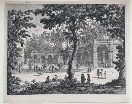 Print. Perelle, View on the fountain in Tivoli.