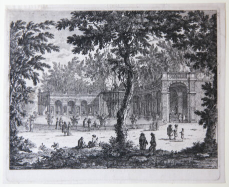 [Antique etching, ets] Perelle, View on the fountain in Tivoli (Tivoli fontein in Italië), published before 1700.