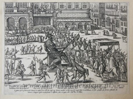 [Antique etching, ets, Antwerpen] F. Hogenberg, Entry of the Duke of Anjou in Antwerp, published 1582.
