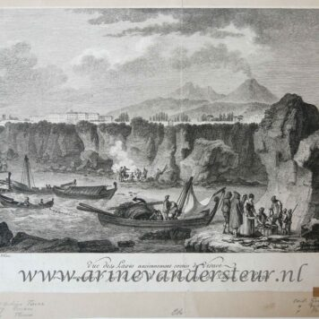 [Antique etching, ets] C.G. Guttemberg, after J.B.A. Tierce, Vue des Laves anciennement sorties du Vesuve et amoncelees suv le bord del Mer pres le Palais de Portici, published before 1800.
