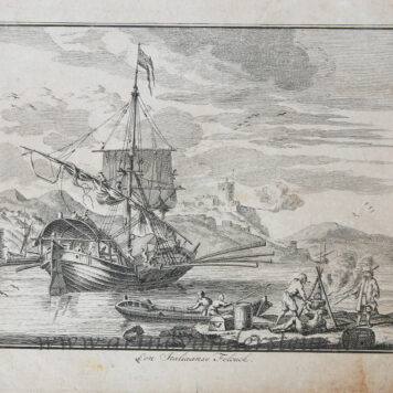 [Antique etching, ets] A.v.d. Laan, Een Italiaanse Felouck, published before 1800.