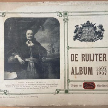 De Ruijter album 1607-1907, 12 platen in een map met lintjes. Plates are pasted reproductions, text printed on paper.