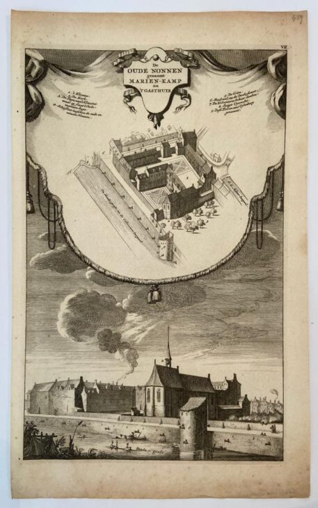 AMSTERDAM -- Hand coloured copperplate engraving published circa 1765 and engraved by Jan Goeree (1670-1730) on laid paper with distinct watermark. From: Jan Goeree - Het Oude Stadhuis en de naaste Gebouwen, zo als zy waren in 't jaar 1544 - Amsterdam, Isaak Tirion, 1765.