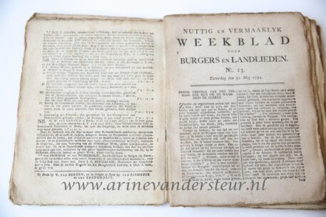 Periodical published by the patriots S. van Bronkhorst and W.C.P. van Riemsdijk, who had to flee from Arnhem after the orangist counterrevolution in 1787. First they went to friends in Antwerp and in 1790 they moved to Bergen op Zoom, where they started their own publishing company. Particularly works of enlightened writers were published here: Bernardus Bosch, Petronella Moens. On of the few publishers that were active in Bergen op Zoom (Ledeboer, 110).