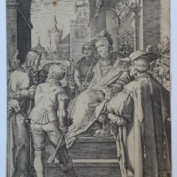 [Antique print, engraving] A. Hogenberg after H. Goltzius, Christ before Pilate (set title: Passion of Christ)/Jezus en Pilatus, 1653.