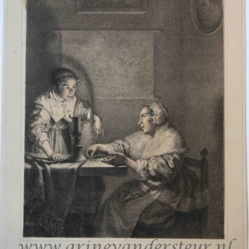 [Handcolored printdrawing]A lady and her maid in an interior/Vrouw met dienstmeisje in kamer, 1821.