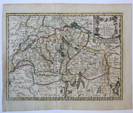 [Antique cartography, engraving] Map of the Swiss/Kaart van Zwitserland.