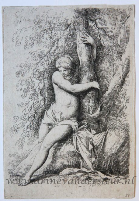 [Antique print, etching] Nude female figure beside a tree/Naakte vrouw naast boom.