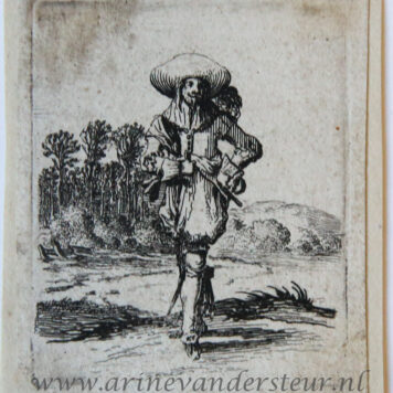 [Antique print, etching] Man with left arm akimbo standing before a landscape [Set title: Genre scenes]/Man met linkerhand in zijn zij.