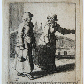 [Antique print, etching] Two women carrying a basket and conversing [Set title: Genre scenes]