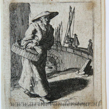 [Antique print, etching] Woman carrying a basket, walking towards a bridge at right [Set title: Genre scenes]/Vrouw draagt mand.