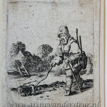 [Antique print, etching] Man walking to the left with a dog on a leash [Set title: Genre scenes]/ Man en hond aan de lijn.