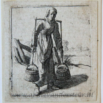 [Antique print, etching] Woman with yoke carrying two buckets of milk [Set title: Genre scenes]/Vrouw met juk en twee emmertjes melk.