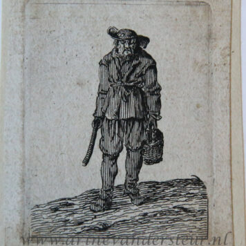 [Antique print, etching] Standing man seen en face with a basket in his left hand [Set title: Genre scenes]/Staande man met emmer in de hand.