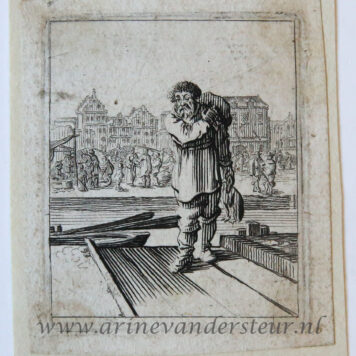 [Antique print, etching] Man standing on warf before canal and city [Set title: Genre scenes]
