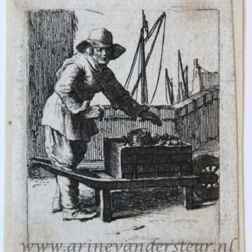 Youth facing right standing by a wheelbarrow before a wharf [Set title: Genre scenes]/Man met kruiwagen bij haven.