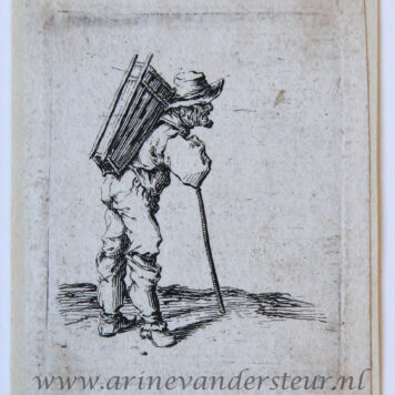 [Antique print, etching] Man standing in right profile with a basket on his back [Set title: Genre scenes]