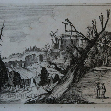 [Antique print, etching] Waterfall between banks, crowned by bare trees/Waterval [Set title: Seven oblong landscapes]