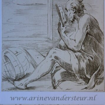 [Antique print, etching] Old man (a philosopher?) looking into a mirror/Oude man kijkt in de spiegel, ca 1732-1736.