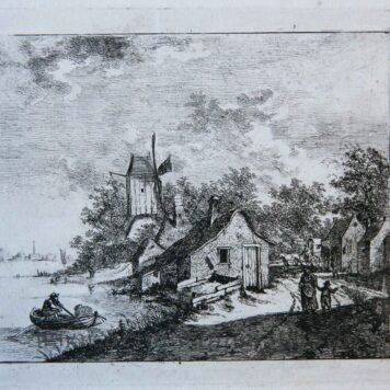 [Antique print, etching] View of a village beside a river/ Dorp bij rivier.