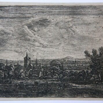 [Antique print, etching] Landscape with a church in moonlight / Landschap met kerk in maanlicht.