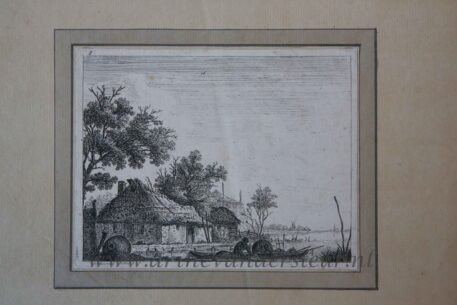[Antique print, etching] Farm house on a lake/Boerderij bij meer.