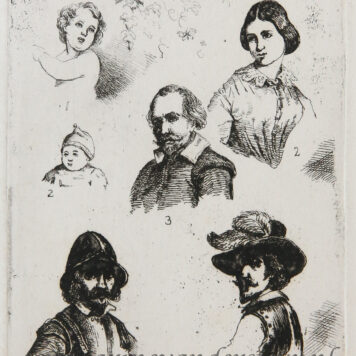 [Antique print, etching] Plate with studies of figures/ Studies van diverse figuren.
