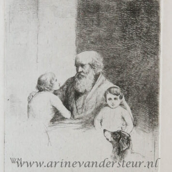 [Antique print, etching] Old bearded man with a child, a boy, and a dog / Oude bebaarde man met kind en hond. .