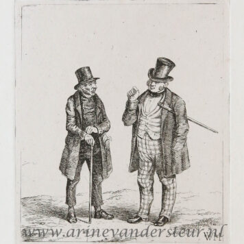 [Antique print, etching] Two men with walking sticks and top hat / Twee mannen met wandelstokken en hoed..