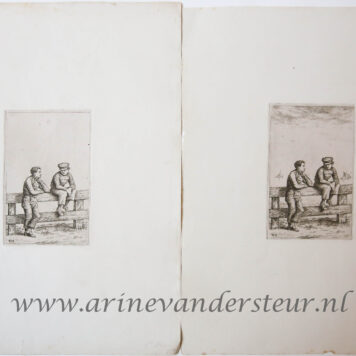 [Antique print, etching] Two boys by a fence / Twee jongens tegen een hek.