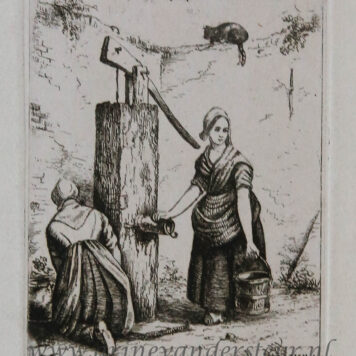 [Antique print, etching] Two women at a water pump.