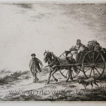 [Antique print, etching] A farm cart with load / Een boerenkar met lading.