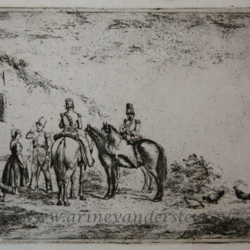 [Antique print, etching] Three soldiers taking a break by a house /Drie soldaten in rust..