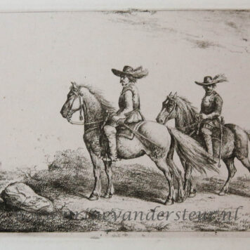 [Antique print, etching] Two horsemen on an exploration / Twee ruiters.