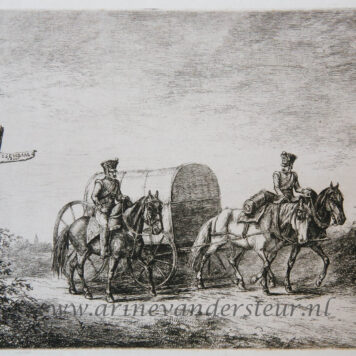[Antique print, etching] Two soldiers on horseback / Twee soldaten op paarden.