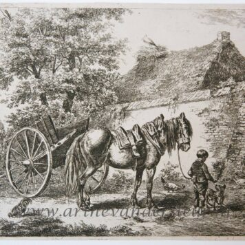 [Antique print, etching] Boy with a horse and dog / Jongen met paard en hond.