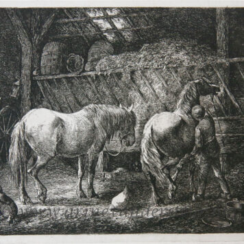[Antique print, etching] Stable interior with two horses /Stal met twee paarden.