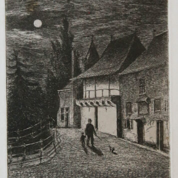[Antique print, etching] Koppelpoort in Amersfoort by moonlight.