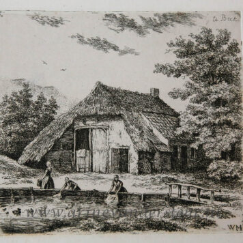 [Antique print, etching] Three women doing the laundry in Beek / Drie vrouwen die de was doen in Beek. .