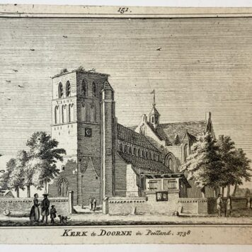 [Antique print] Kerk te Doorne in Peetland, 1738.