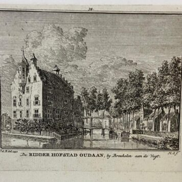 [Antique copperplate engraving/etching] De Ridder Hofstad Oudaan, bij Breukelen aan de Vegt.