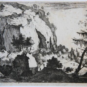 [Antique print, etching] Rocky landscape with fir, ca. 1650.