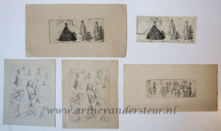[antique print, etching] Various studies of heads and others/studie van hoofden en diverse figuren, published 1795-1800.