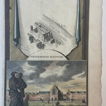 [Handcolored copperplate engraving] 't Cellebroers Klooster in Amsterdam, ca 1720.