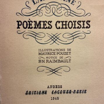 Number 8 of 8 copies on Ingres d'Arches paper of Lamartine Poemes choisis, Notice de R.N. Raimbault,