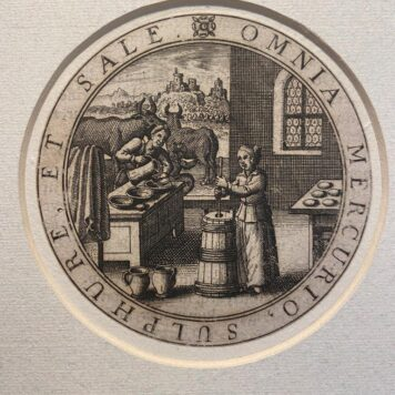 [Antique print, engraving] Emblem: OMNIA MERCURIO, SULPHURE, ET SALE, published before 1580?.