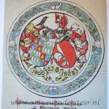 [Colored Coat of Arms/Handgekleurd familiewapen] Familiewapen van Langlois van der Bergh-De Lom de Berg, dated 27 August 1900-1925.